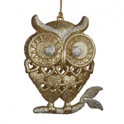 Gold Glittered Owl Ornament