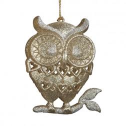 Champagne Glittered Owl Ornament
