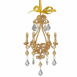 Gold Glittered With Clear Bead Chandelier Ornament