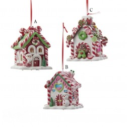 "3.5"" Gingerbread LED Candy House Ornament"