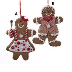 Red/White Gingerbread Boy or Girl Ornament