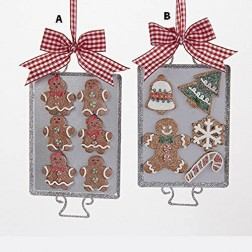 """Image of 6"""" Metal Tray with Claydough Gingerbread Ornament"""