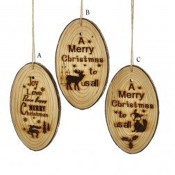 "5.9"" Wooden Merry Christmas Ornament"
