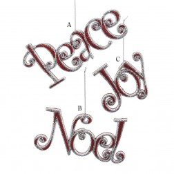 """3.5-7"""" Red and Silver Peace/Joy/Noel Ornament"""