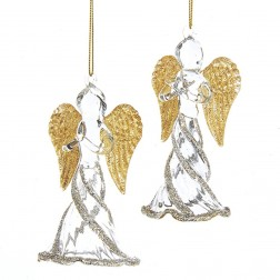 """Image of 4.5""""Gold/Silver Glass Angel Orn 3/A"""
