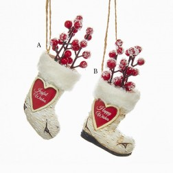 """3.5"""" Birch Berries Stocking and Boot Ornament"""