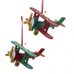 "Image of 5.5"" Wooden North Pole Plane Ornament"