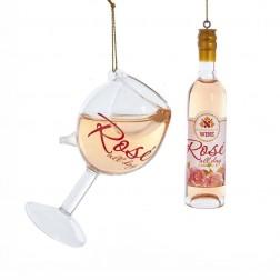"""Image of 4-4.5""""Gls Rose Wine Bottl/Glass Orn"""