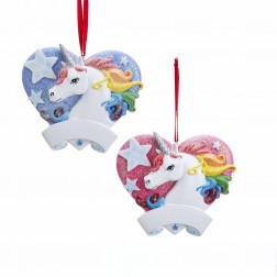 "Image of 3""Unicorn W/Heart Personalz Orn 2A"