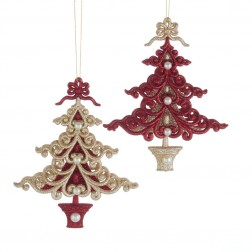 "Image of 6""Ruby Red/Platinm Xmas Tree Orns"