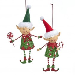 "Image of 7.5""Metal Red/Green Elf Orn 2/Asstd"