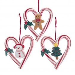 """Image of 3.9""""Claydgh Candycane Heart Orn 3/A"""
