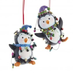 "Image of 3.6""Resin Penguins W/Lights Orn 2/A"