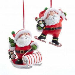 "Image of 4""Resin Santa On Sled/Skates Orn 2A"