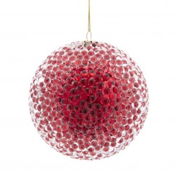 Image of 90Mm Red Bead Ball Orn