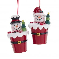 "Image of 4""Claydgh Snowman In Bucket Orn 2/A"