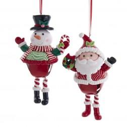 "Image of 5""Claydough Bell Santa/Snwman Orns"