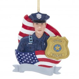 "Image of 4.2""Res Policeman W/Flag+Badge Orn"
