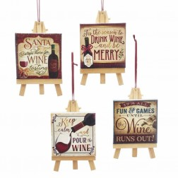 "Image of 4.5""R/Iv Wine Saying On Canvas Orns"