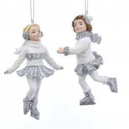 "Image of 4.5""Silver/White Skatng Girl Orn 2A"