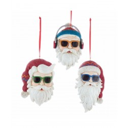 "Image of 4""Cool Yule Santa Head Orn 3/Asstd"