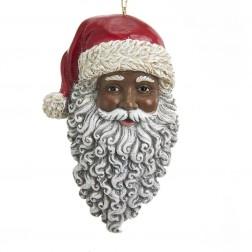 "Image of 4.5""Resin Black Santa Head Orn"