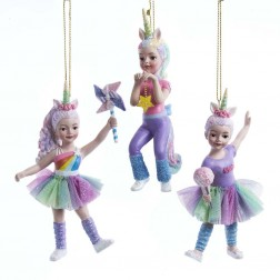 "Image of 5""Resin Dancing Unicorn Girl Orn 3A"
