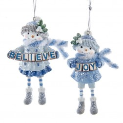 "Image of 3.63""Blue Snowgirl Joy/Believe Orns"