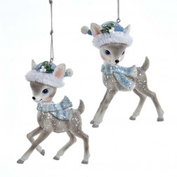"Image of 4.25""Gray Deer W/Blue Santa Hat 2/A"