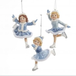 "Image of 4.5""Blue Ice Skating Girl Orn 3/A"