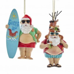 "Image of 4.5""Chubby Santa W/Deer+Surfing Orn"