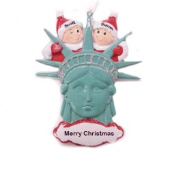 Statue of Liberty Head Couple Personalized Christmas Ornament