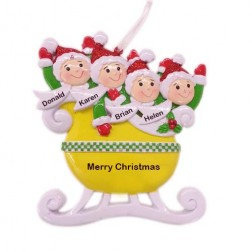 Taxi Sleigh Family of 4 Personalized Christmas Ornament