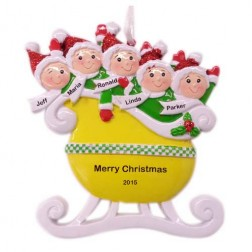 Taxi Sleigh Family of 5 Personalized Christmas Ornament