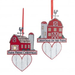 "Image of 5.5""Wdn Red Barn W/Heart Orn 2/A"