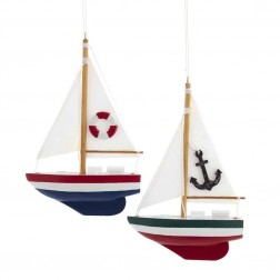"Image of 6""Wdn/Fab Mache Sailboat Orn 2/A"
