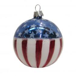 Image of 80mm USA Flag Glass Ball Ornament