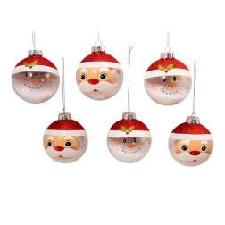 Image of 80Mm Clr/Wht Santa/Snwman Balls 6Pc