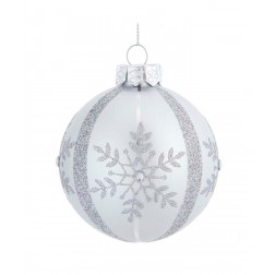 Image of 80Mm Silver Snowflake Glass Ball 6P