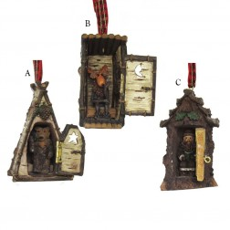 """3.5"""" Poly Hinged Cottage Ornament"""