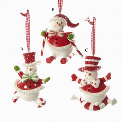 "3.5"" Skating/Skiing/Sliding Snowman Ornament"