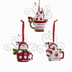 "3.7"" Red, White and Green Snowman in Cup Ornament"