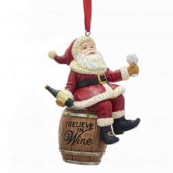 "Image of 3.5""Resin Santa On Wine Barrel Orn"