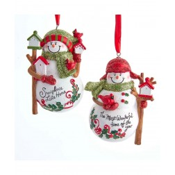 "Image of 3.5""Snowman Bird/Birdhouses Orns"