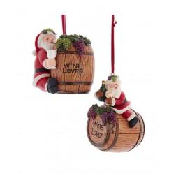 "Image of 3.75""Resin Santa Wine Barrel Orn 2A"