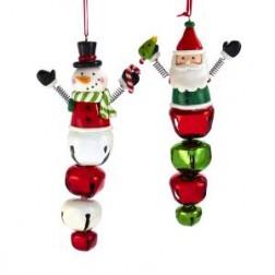 "Image of 6.25""Santa/Snowman W/Bell Orns"