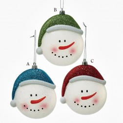 "4.5"" Glitter Snowman Head Ornament"