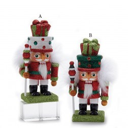 "6.7"" Red/Green Gift Box Hat Nutcracker"