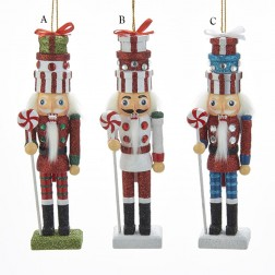 "Image of 6"" Wood Gift Box Hat Nutcracker"
