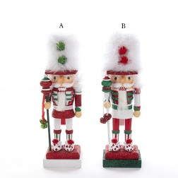 "11"" White/Red/Green Feather Hat Nutcracker"